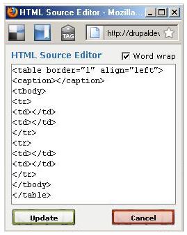 Drupal screenshot showing the HTML code of a table