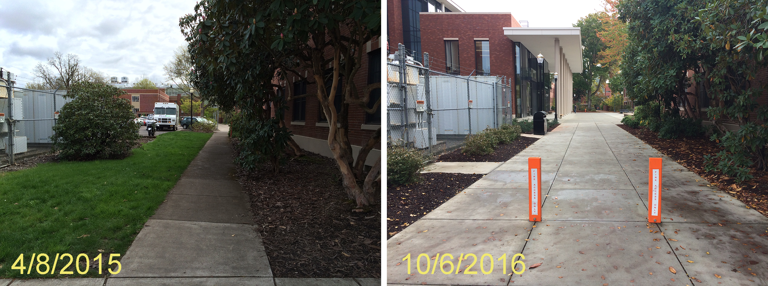 Johnson Hall pathway from 26th before and after