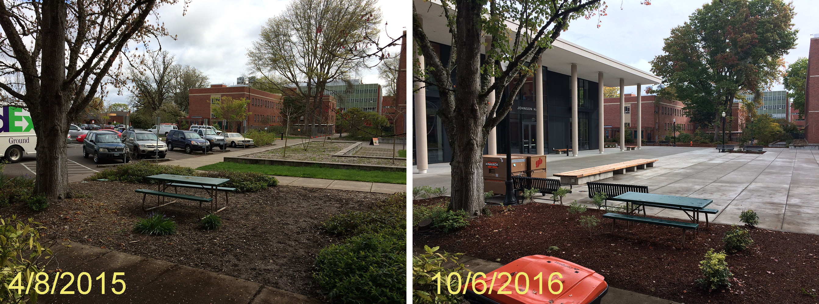 Johnson Hall before and after construction
