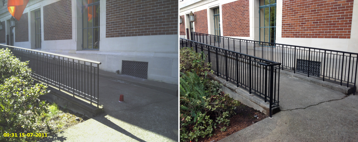MU Quad East Ramp Handrails Before/After