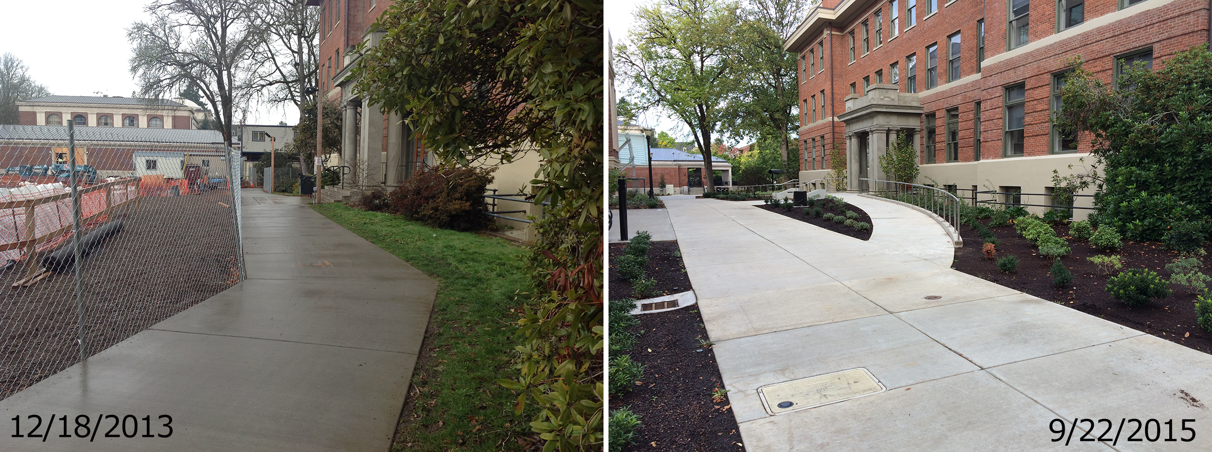 Strand south entrance showing new accessible paths with stairs relocated