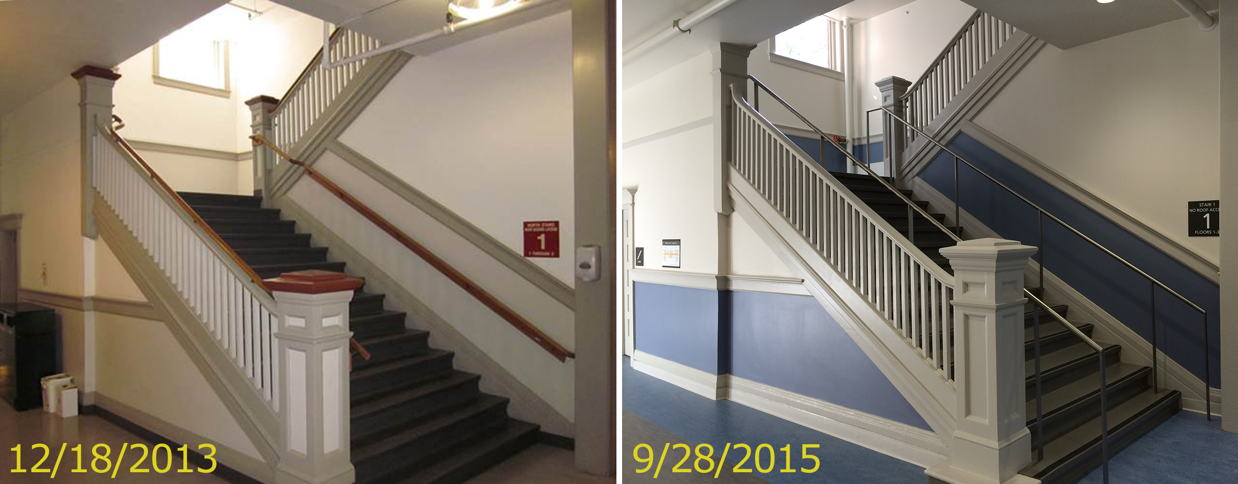 Internal stairs retain historic features with new accessible handrails